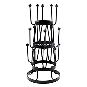 PAG Metal Mug Tree Stand Coffee Cup Holder Organizer Drying Rack 15 Hooks, Black