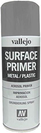 Vallejo 28011. Spray Pintura Imprimacion Gris de grano extrafino, para superficies de plastico o metal