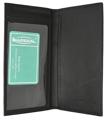 Brand New Hand Crafted Genuine Soft Leather Checkbook Cover simple-156 (Premium Black) ()
