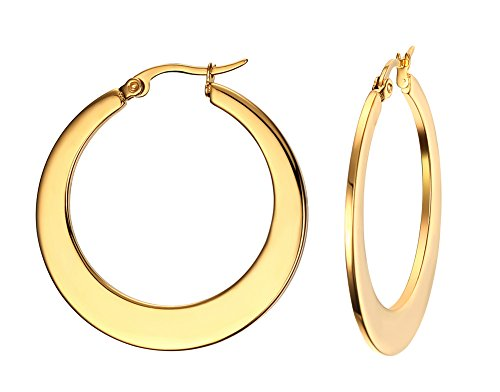 [18k Gold Plated Stainless Steel Polished Round Hoop Earrings for Women, Nickel Free] (His And Her Costumes 2016)