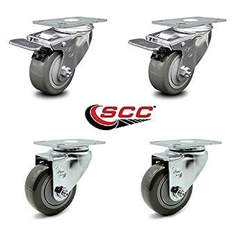 Rubber Tread Top Plate Service 3-1//2 Inch Swivel Caster Total Lock Brake