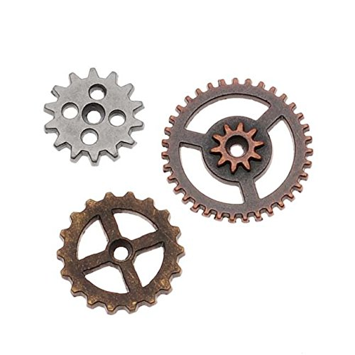 Metal Mini Gears by Tim Holtz Idea-ology, 12 per Pack, Various Sizes, Antique Finishes, TH93012 (Vintage Gears)