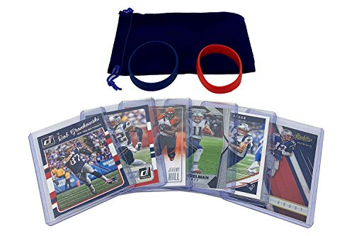 New England Patriots Cards: Tom Brady, Rob Gronkowski, Chris Hogan, Devin McCourty, Jeremy Hill, Julian Edelman ASSORTED Trading Cards and Wristbands Bundle