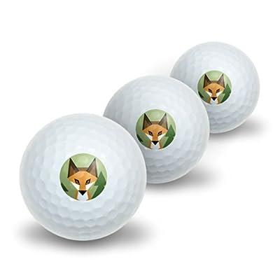 Geometric Orange Fox Novelty Golf Balls 3 Pack