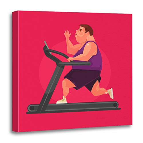 Emvency Canvas Wall Art Print Sport Fat Man Character Running Fast on Treadmill Flat Artwork for Home Decor 20 x 20 Inches