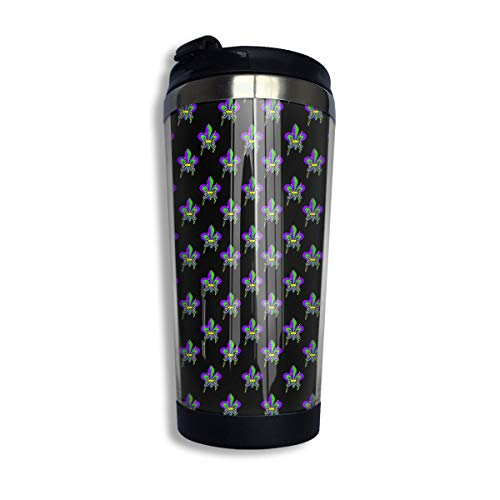 NEHomer Stainless Steel Coffee Mugs Mardi Gras Heart Fluer De Lis Wallpaper Travel Coffee Thermal Mug 10 Oz (400ml) Insulated Cup Perfect for Travel, Camping, Hiking, The Beach and -