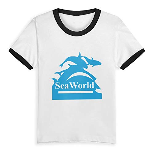 Unisex Baby Seaworld Logo O Neck Toddler's Short Sleeve Baseball T Shirt for 2-6 Boys Girls Black ()