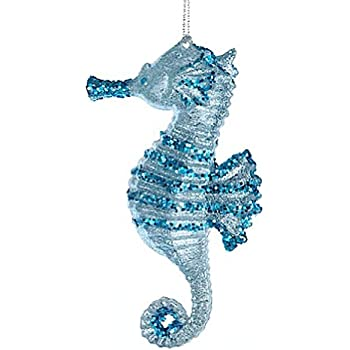 Christmas Ornament Glittered Plastic Seahorse Ornament Blue
