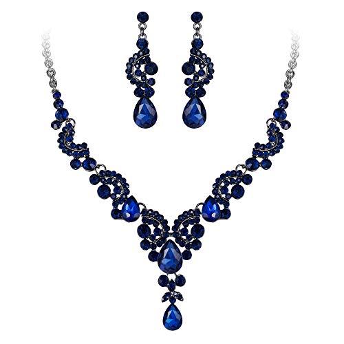 EVER FAITH Austrian Crystal Bridal Floral Wave Teardrop Necklace Earrings Set Blue Black-Tone