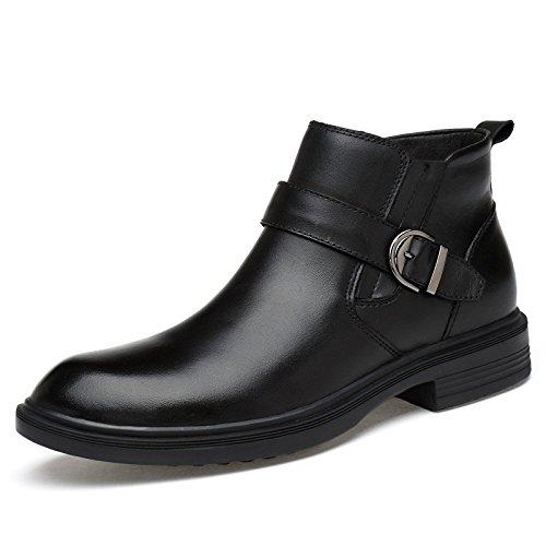 ZQ@QXSeñaló irregular con la marea de la moda ocio botas botas de hombres para ayudar a botas de gran tamaño 36|Black single shoes Black single shoes