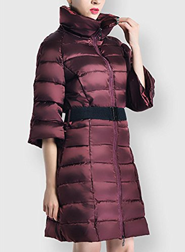 Section Artificial Fur Pocket Down Fashion Fifth Zipper Sleeve Coat Long Slim Jacket The And Coat Of RED In XL Winter Autumn Thickened Snow Women'S Warm The Jacket qwT8qpf6Z