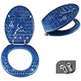 MSV 140766 Vichy - Tapa de WC de tablero de madera y acero inoxidable (42,5 x 36,5 x 1,6 cm), diseño impreso, color azul