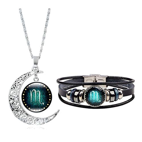 (Dcfywl731 Fashion 12 Twelve Constellations Hand Woven Leather Bracelet and Moon Pendant Necklace Zodiac Sign Jewelry Set (Scorpio(10/24-11/22)))