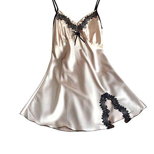 Ladies Sexy Silk Satin Night Dress Sleeveless Nighties V-Neck Nightgown Plus Size Nightdress Lace Sleepwear Nightwear For Women (L Size)