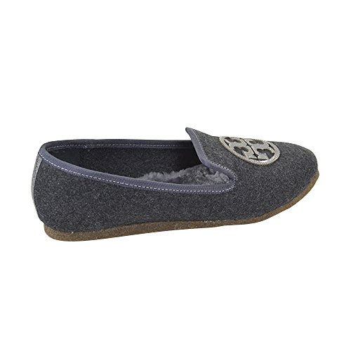 Tory Burch Billy Fifty Flannel/Mirrior Craquelee Slippers Charcoal/Pewter Size 9