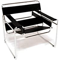 Marcel Breuer Wassily Style Chair - Black Leather