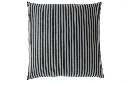 Black White Damask Linen Pin Stripe Thin Small 15 inch Square Striped Accent Throw Pillow Cover (Pin Pillow)