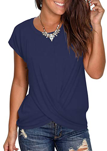 AZEPKS Women'sSummer Twist Front Crop Short Sleeve Tops Round Neck Casual Loose Blouses T Shirts Size Small Color Navy Blue
