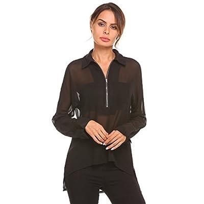 Top Zeagoo Women's Sheer Long Sleeve V Neck Zip Up Chiffon Blouse Top free shipping
