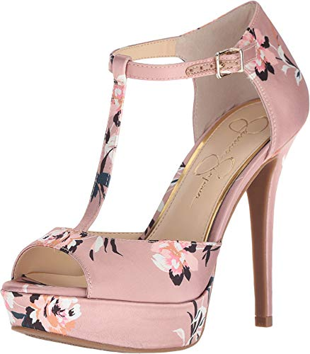 (Jessica Simpson Women's Bansi Light Pink/Floral Satin 8 M)