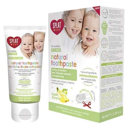 #MC SPLAT Baby Apple Banana Toothpaste 40ML-Natural Toothpaste for Babies 0-3 Years Old,Reduce Gum Sensitivity and Provide Pleasant Feeling During Teeth Brushing