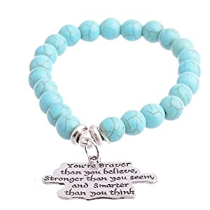 """Pendant Bracelets by Luvalti """"You are braver than you believe"""" Inspirational Family Gift for Men & Women"""