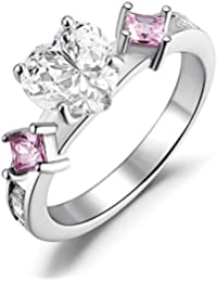 Sterling Silver Created Pink Sapphire and Heart Shaped Cubic Zirconia Promise Ring