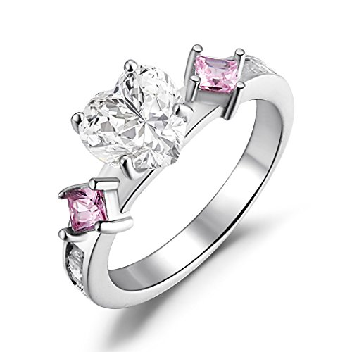 ver Created Pink Sapphire and Heart Shaped Cubic Zirconia Promise Ring Size 9 (Created Pink Sapphire Heart)