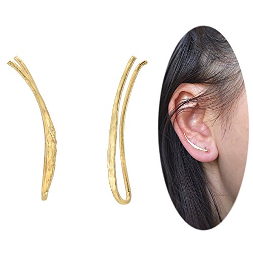[Ear Climber Crawler Cuff Earrings - 925 Sterling Silver Plated with 18K Yellow Gold] (18k Yellow Gold Thin)