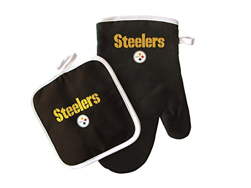 Pro Specialties Group NFL Pittsburgh Steeler Oven Mitt and Pot Holder Set