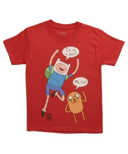 Adventure Time I'm On A Shirt Youth T-shirt (X-Large, Red)
