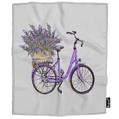 Mugod Bicycle Blanket Violet Bike with Lavender Flowers Bouquet in Basket Retro Fuzzy Soft Cozy Warm Flannel Throw Blankets Decorative for Boys Girls Toddler Baby Dog Cat 40X50 Inch -