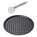 Pizza Cutter and Pan, PEMOTech Premium Quality Large Pizza Pan, Stainless Steel Pizza Cutter Wheel, Good Grip Anti-slip Sharp Pizza Cutter & 12.5 Inch Non-stick Pizza Pan, Carbon Steel,Dishwasher Safe
