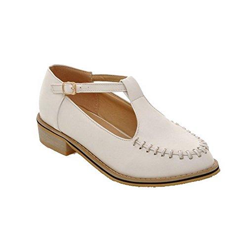 AllhqFashion Womens Buckle PU Round Closed Toe Low-Heels Solid Pumps-Shoes White hMi9ZcS