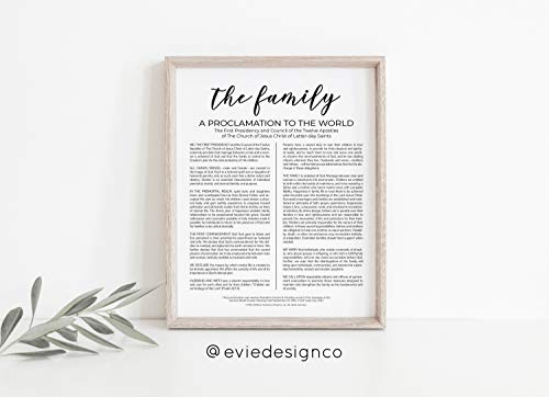 Arvier The Family A Proclamation to The World LDS Print Framed Wall -