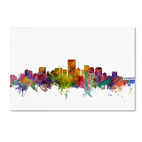(Richmond Virginia Skyline by Michael Tompsett, 16x24-Inch Canvas Wall Art)