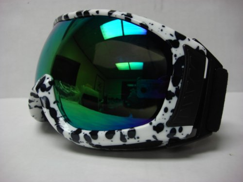 Motorcycle Motocross Off-road Ski Snowboard Race Goggles Black/White tinted Adult size