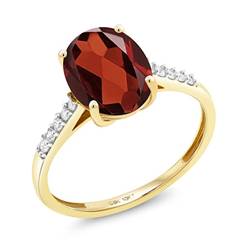 Gem Stone King 10K Yellow Gold Red Garnet and White Diamond Women's Ring 2.62 Ct Oval Gemstone Birthstone Available in size 5, 6, 7, 8, 9