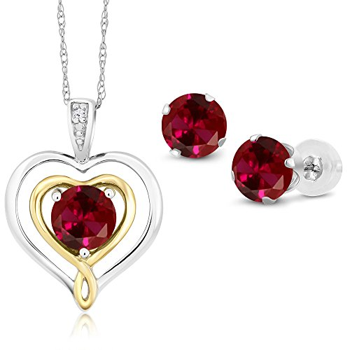10K Two Tone Gold 2.61 Ct Red Created Ruby and Diamond Pendant Earrings Set
