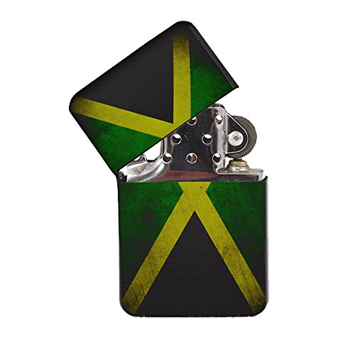 Jamaica Flag - Black Lighter Windproof Flip-Top Refillable with tin Gift ()