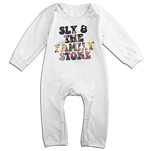 Dara Sly And The Family Stone Boy's & Girl's Long Sleeve Romper Bodysuit Outfits White 24 Months