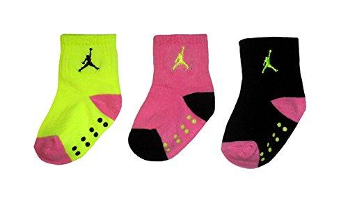 Jordan Jumpman 23 Baby Girls' 3-pair Socks (3-4.5 (Shoe Size: 3C-7C), Flo Green)