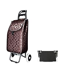 LBY Shopping Cart, Shopping Cart, Small Cart, Portable Cart, Collapsible Trolley, Luggage Trolley Shopping Trolley (Color : Brown)
