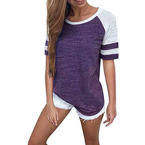 Dressin Ladies T Shirts Womens's Fashion Short Sleeve Color Block Stripe Blouse Tees Summer Tunic Tops Purple