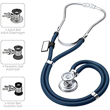 MDF Sprague Rappaport Dual Head Stethoscope with Adult, Pediatric, and Infant convertible chestpiece - Free-Parts-for-Life & (MDF767) (Navy Blue (Abyss))