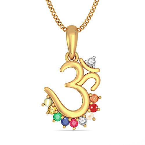 14K Or jaune 0,1ct tw Round-cut-diamond (IJ | SI) et Navaratna Pendentif