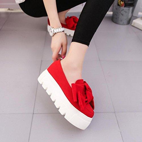 Hunpta Frauen flache Art und Weisebogen Dame Flats Loafers Damen Beleg auf Plattform Schuhen Rot