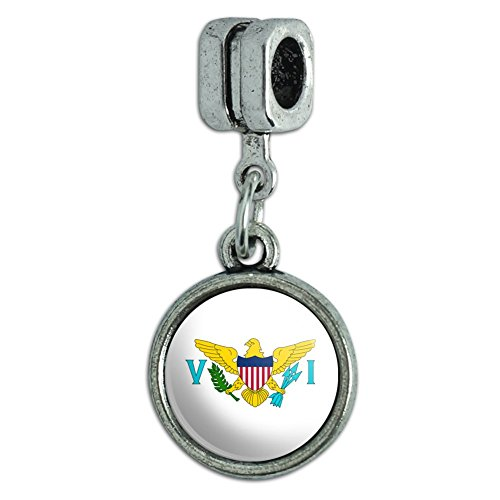 Italian European Style Bracelet Charm Bead Country National Flag T-Z - United States Virgin Islands National Country Flag