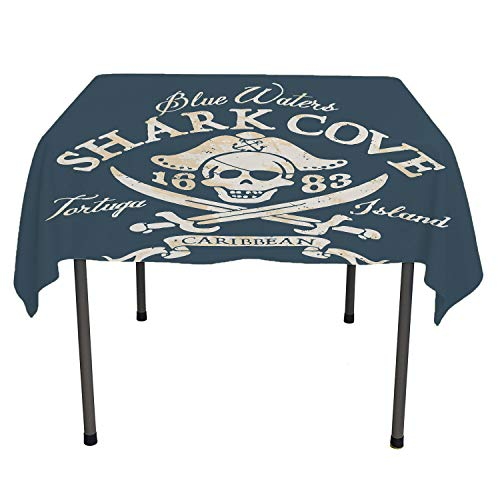 Pirate Polyester tablecloths Shark Cove Tortuga Island Caribbean Waters Retro Jolly Roger Slate Blue White Light Mustard Washable Outdoor Table Cloth Spring/Summer/Party/Picnic 60 by 60