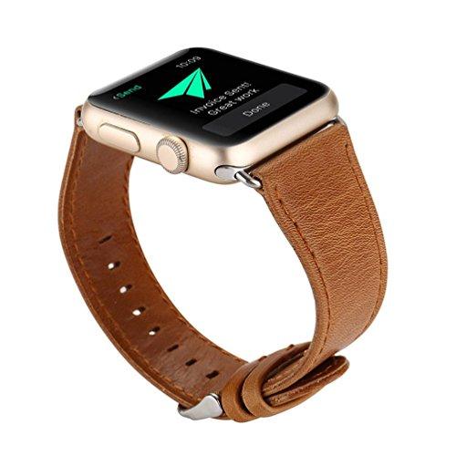 Alonea Leather Buckle Wrist Watch Band Strap Belt For Watch Apple Watch 38mm (Brown)